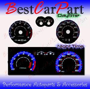 BLACK For 03-08 Hyundai Tiburon w/ RPM INDIGLO GLOW BLUE/WHITE EL REVERSE GAUGES