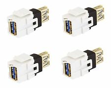 4x USB 3.0 A Female/F Snap-in Coupler Jack Insert for Keystone Wall Plate