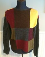 Cousin Johnny Anthropologie Color Block Sweater Pullover Womens Sz S Wool Blend