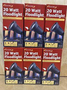 (6) Malibu Floodlight Uplight Portable Light 20W Halogen - Black Metal Finish