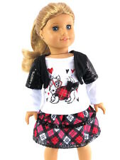 "Plaid Puppy Skirt Set Fits 18"" American Girl Doll Clothes"