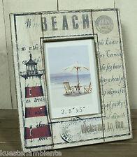 "Maritimer Bilderrahmen aus Holz ""Beach"" Leuchtturm Motiv für Fotos 8,5 x 12,5 cm"