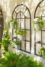 set of 3 PROVINCIAL FRENCH arched orangerie wall planter decor BLACK art  NEW