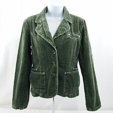 Fishbone Womens Size Medium Long Sleeve Corduroy Blazer Jacket Khaki Green