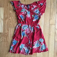 Angie Red Rayon Floral Sun Dress Small