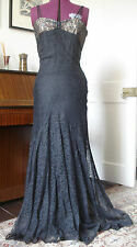VINTAGE 1930s LACE FULL-LENGTH Gown MAXI Evening Dress W14 1/2