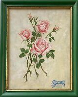 Stillleben mit Rosen Papa 1969 Berliner Leiste Grün Gold 30,5 x 24,5 cm