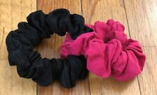 Hair Scrunchie -Double Scrunchie Rose Pink/ Black Fabric- ponytail