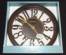 SHARP Wall Clock Battery Operated Dark Wood Home Decor Modern Living Dining Room