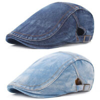 Men Classic Denim Golf Ivy Peaked Hat Driving Flat Beret Outdoors Newsboy Cap