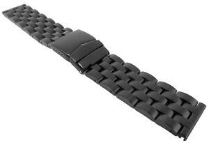 Minott Bracelet Acier Inox Bande Massif Noir Adapté À Breitling Montre 29477