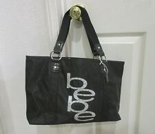 NWT Bebe Black Logo Studded Rhinestone Nylon Large Tote Bag