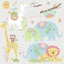 TRIBAL BABY ANIMALS Wall Decals Big Elephant Giraffe Stickers Baby Nursery Decor