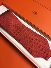 HERMES CHRISTMAS Red Square Tie 5027 PA New in box