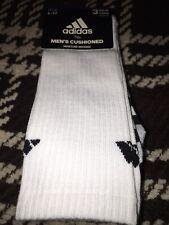 3 Pair Adidas Men's Cushioned Crew Socks Shoe Size 6-12 Moisture Wicking Sports