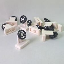 10 NEW LEGO Vehicle, Steering Stand 1 x 2 with Black Steering Wheel White