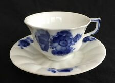 Royal Copenhagen BLUE FLOWERS #8500 Angular Footed Cup and Saucer