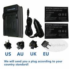 2X Battery + charger For PENTAX D-LI7 Fuji NP-120 Optio 450 550 555 750 750Z
