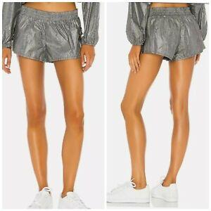 NWT Free People Movement Diamond Back Reflective Shorts Size Small Black Combo