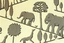 African Inspired Grey Drapery Upholstery Fabric Braemore Jungle Walk CL Elephant