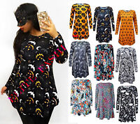 WOMENS HALLOWEEN DRESS LADIES CUSTOME LONG SLEEVE SWING DRESS PLUS SIZE 8-26