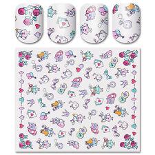 Nail Water Decal Transfer Sticker Cartoon Cat Rabbit Bowknot Heart Manicure Tips