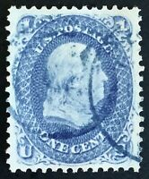 #63 Used, Choice 1861 1c Franklin w/Two Light  Blue CDS, Previously PF Certified