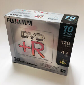 Fujifilm DVD+R Blank DVDs - 4.7GB - Upto 16x Speed - Slim Jewel Case - 10 Pack