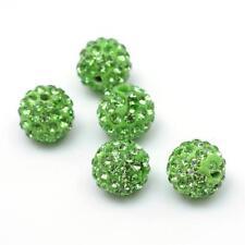10 Stück Strassperlen Beads Perlen Shamballa Hellgrün 12 mm (1977)