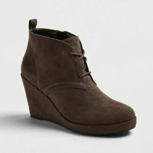 Women's Dolce Vita Terri Gray Size 8.5 Lace Up Wedge Booties