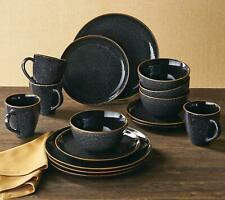 Set Dinnerware 16piece Dishes Plate Mug Vintage Classic Modern Service Black New