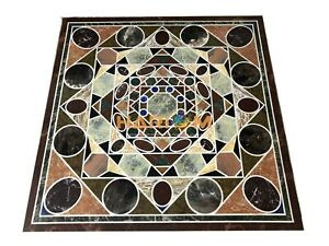 "36"" Marble Side Coffee Square Table Top Inlay Archaic Floral Garden Decor B003"