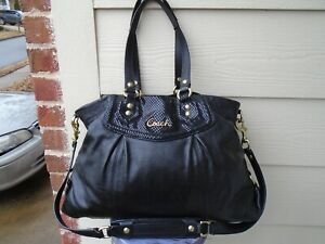 COACH Bag ASHLEY Python TOTE Shoulder Satchel Cross Body BLACK Leather F19243