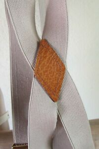"""NEW 1"""" BROWN or SILVER or 2"""" NAVY ELASTIC CLIP-ON LEATHER PATCH SUSPENDERS"""