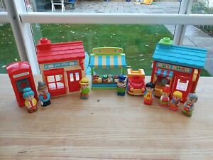 ELC Happyland Town Set Including Toy Shop, Greengrocer And Post Office With...