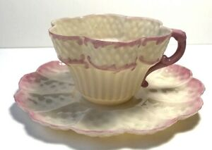 Antique Belleek Second Period Black Mark Pink Erne Cup Saucer Plate
