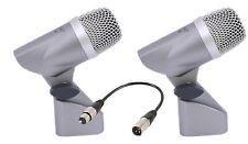 2 x Omnitronic Micrófono 77M Rack Tom Tambor micrófono y paquete de plomo XLR banda de metal