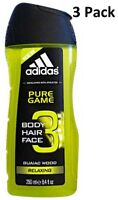 3 x Adidas Body Hair Face Shower Gel  250ml - Pure Game (Relaxing)