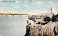 Omaha NE Railroad Yards~Boxcars @ Depot~Factory Smokestacks~Bridge c1911