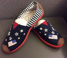 Fashion Women Classic Slip-On Flats Shoes Size 40 American & British Flags Stars
