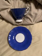 ADDERLEY England Fine Bone China Tea Cup & Saucer Royal Blue /Gold Trim