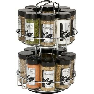 16-Jar Revolving Chrome Wire Spice Rack Come with Spices and Jars Kitchen Cook