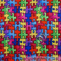 BonEful Fabric FQ Cotton Quilt Kid Child AUTISM Awareness Rainbow Puzzle School