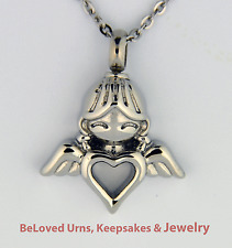 Child Angel With Heart Cremation Jewelry Pendant Keepsake Urn w/ Chain & Funnel