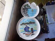 2 assiettes décoratives BON ETAT peint à la main M.B.F.A PORNIC .