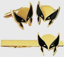 Marvel Comics Wolverine Mask Logo Metal Enamel Cuff Link & Tie Clip Set
