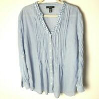 Style & Co. Women's Top Size Large Blouse Roll-Tab Sleeves Embroidered Neckline