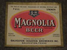 New listing Original 1930's Magnolia Beer Galveston-Houston Breweries Inc. Texas Label Nice