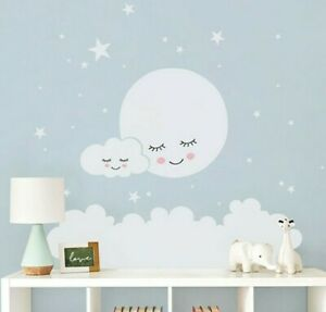 Moon Stars Clouds Wall Decal For Kids Room Nursery Home Decorative Art Vinyl