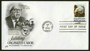 #1831 15c Organized Labor, Art Craft FDC ANY 5=